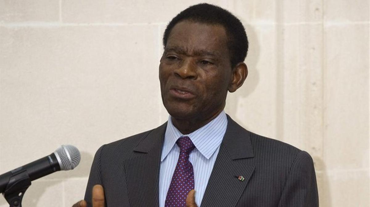 El presidente de Guinea Ecuatorial, Teodoro Obiang, durante su conferencia en el Instituto Cervantes de Bruselas.