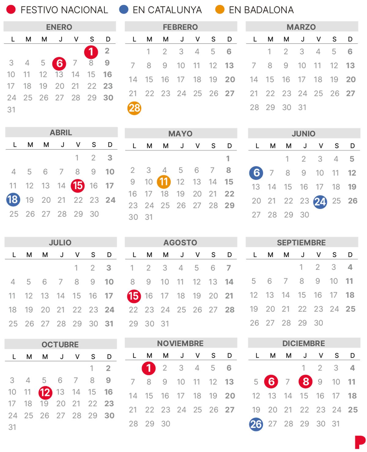 Calendario laboral de Badalona 2022.