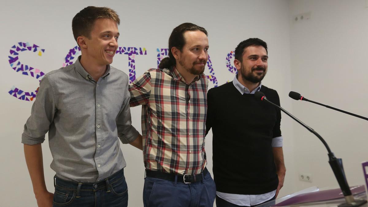 Íñigo Errejón, Pablo Iglesias y Ramón Espinar, este jueves en la sede de Podemos.