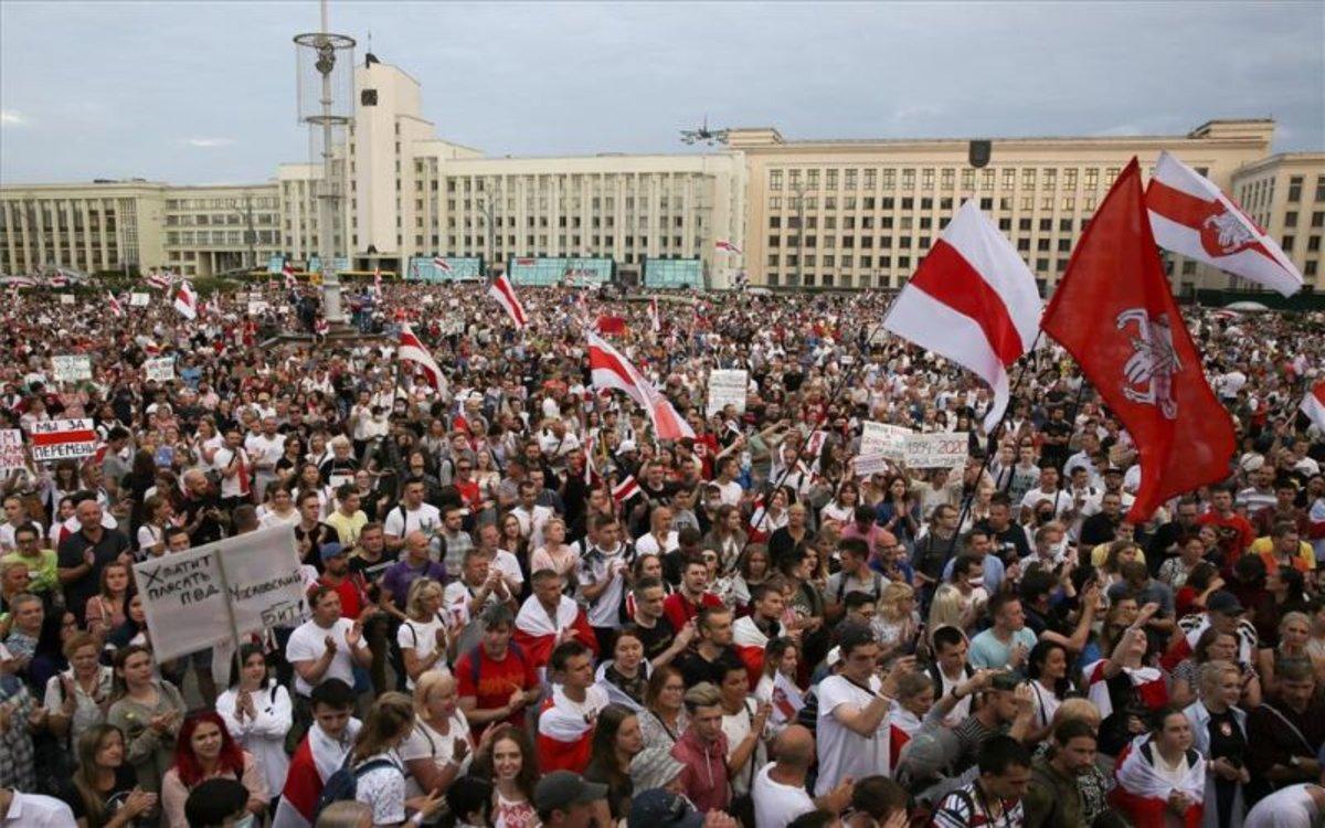 Protestas sociales en Bielorrusia en contra del presidenteAlexander Lukashenko.
