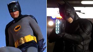Adam West como Batman en la teleserie ultrapop de los años 60 y Christian Bale en el filme 'El caballero oscuro. La leyenda renace', del 2012.