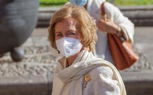La reina Sofía, a su llegada al Hotel Reconquista de Oviedo.