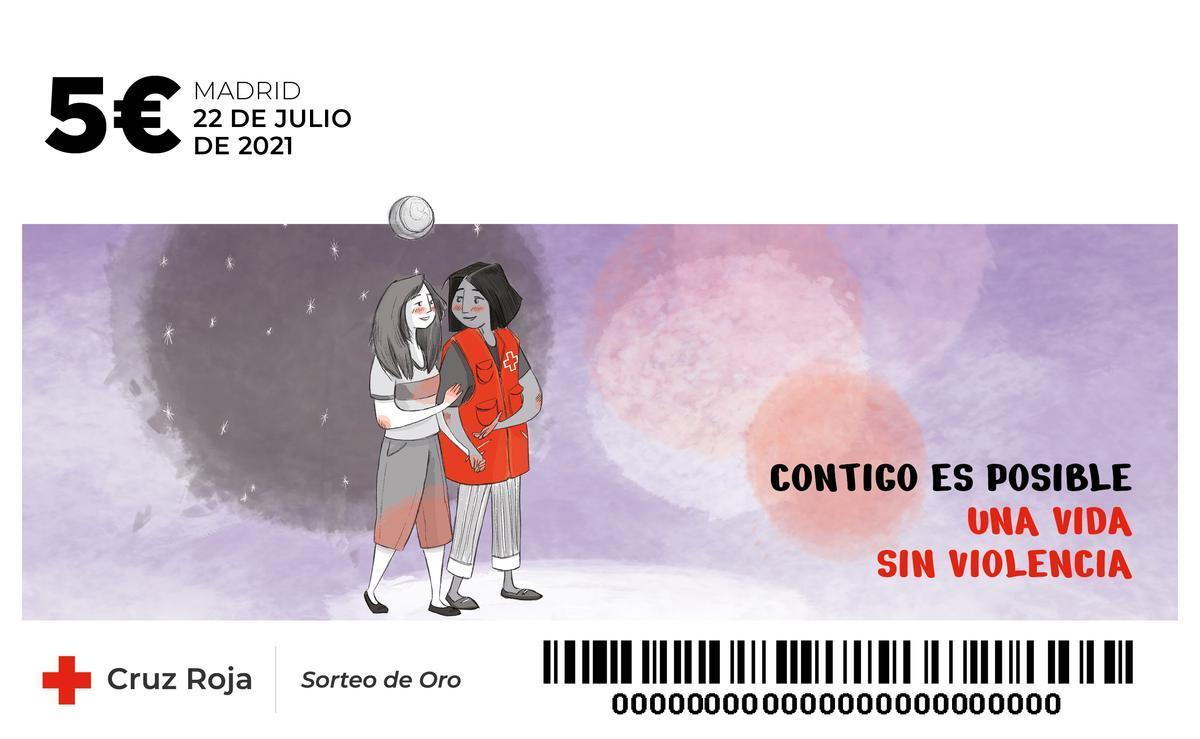 Boleto del Sorteo de Oro de la Cruz Roja 2021.