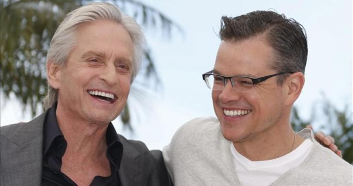 Michael Douglas y Matt Damon, en la presentación de la película sobre Liberace en Cannes.