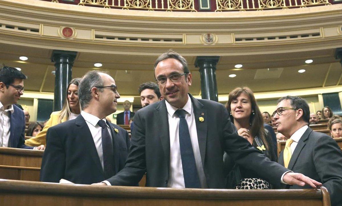 Jordi Turull y Josep Rull, en el Congreso de los Diputados.