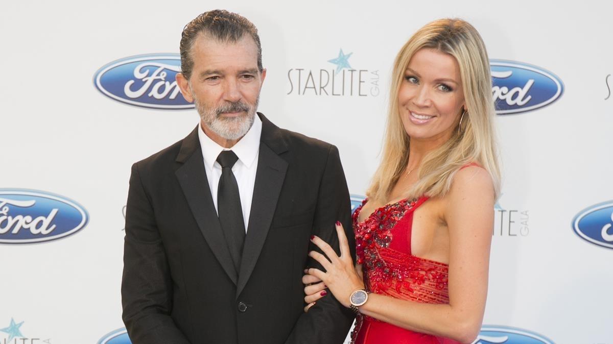 Antonio Banderas y Nicole Kimpel, en la gala Starlite, el pasado sábado en Marbella.