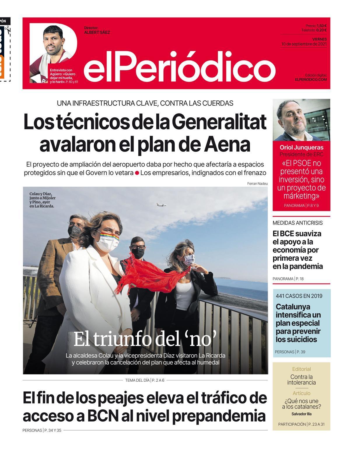La portada de EL PERIÓDICO del 10 de septiembre del 2021