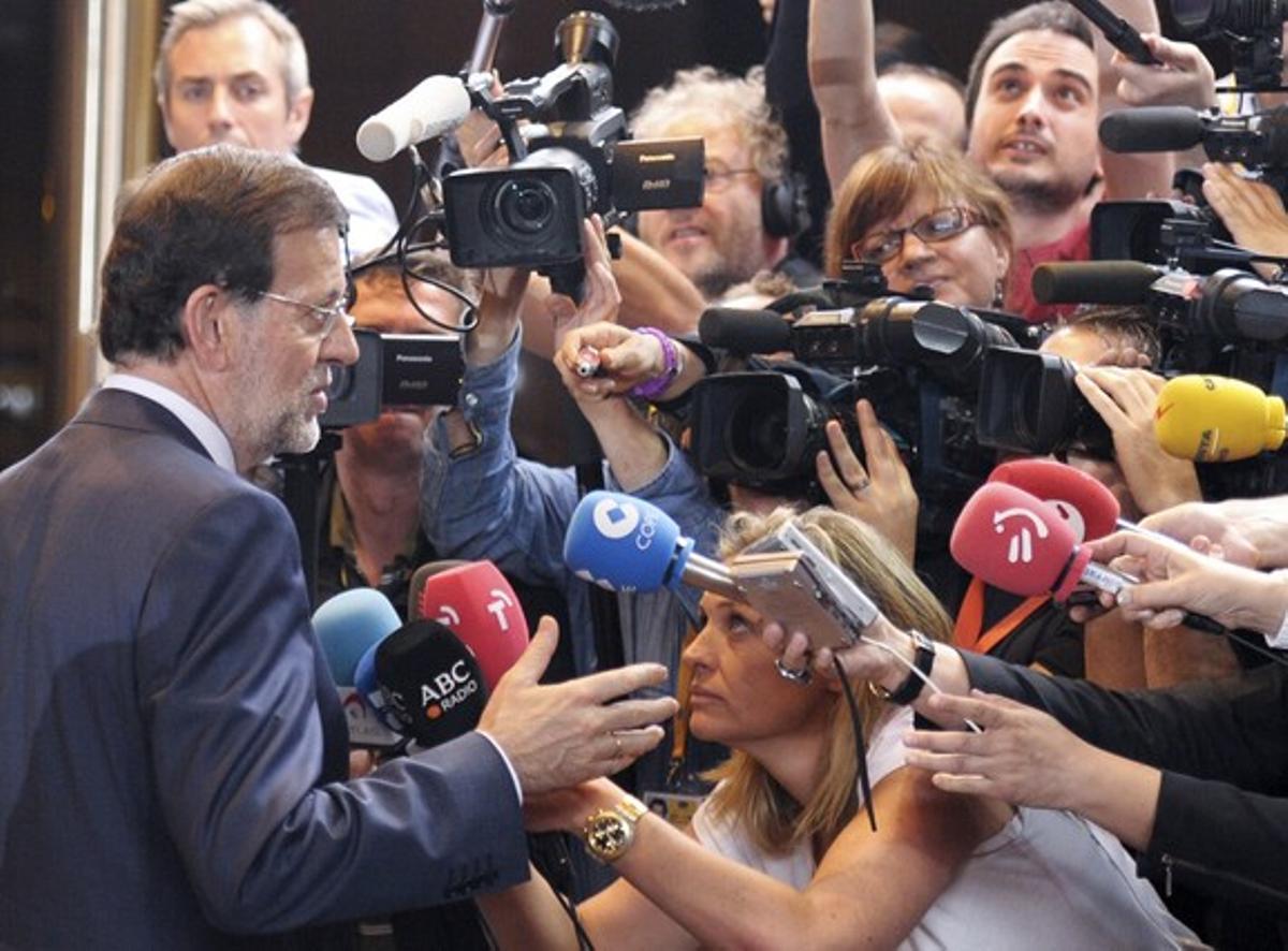 Rajoy comparece ante la prensa tras la reunión en Bruselas.