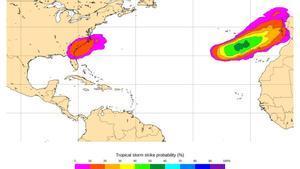 Mapa de cómo afectará el domingo 15 de noviembre a la Península Ibérica la tormenta tropical Theta, según el Servicio oficial del Sistema de Notificación de Observaciones Atmosféricas Singulares de la AEMET.
