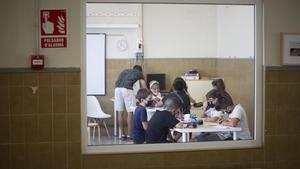 Una clase de el Institut Escola Lluís Millet, a principios de curso.
