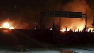 Imagen de la agencia SANA del presunto ataque israelí este martes cerca de Damasco, Siria.