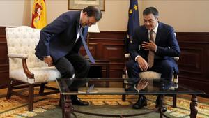 Mariano Rajoy y Pedro Sánchez, reunidos en el Congreso, el pasado 29 de agosto.