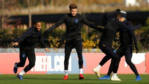 La selección inglesa, en el entrenamiento de este sábado.