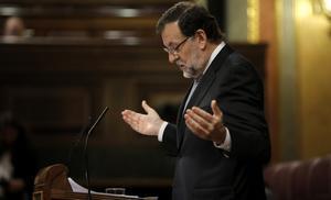 Mariano Rajoy, durante su intervención en el debate.