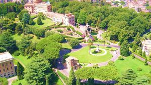 Vista aérea de los Jardines Vaticano.