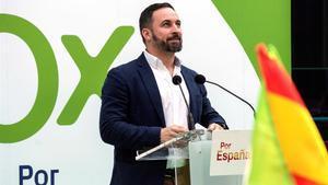 El candidato de Vox a las generales, Santiago Abascal, en un mitin en Vitoria.
