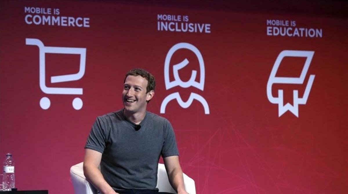 Mark Zuckerberg, durante suconferencia en el Mobile World Congress.