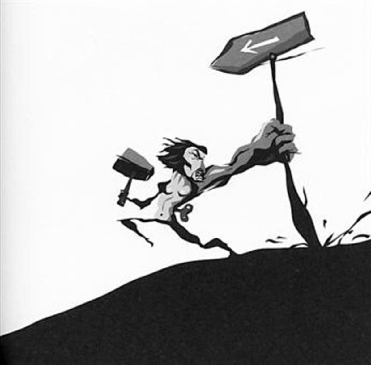Libertad 8Con el martillo el hombre ve que puede cambiar su destino.