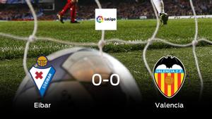 El Eibar y el Valencia se reparten los puntos en un partido sin goles (0-0)