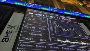 Vista del Ibex 35, el principal indicador de la bolsa española, el 25 de febrero de 2021.