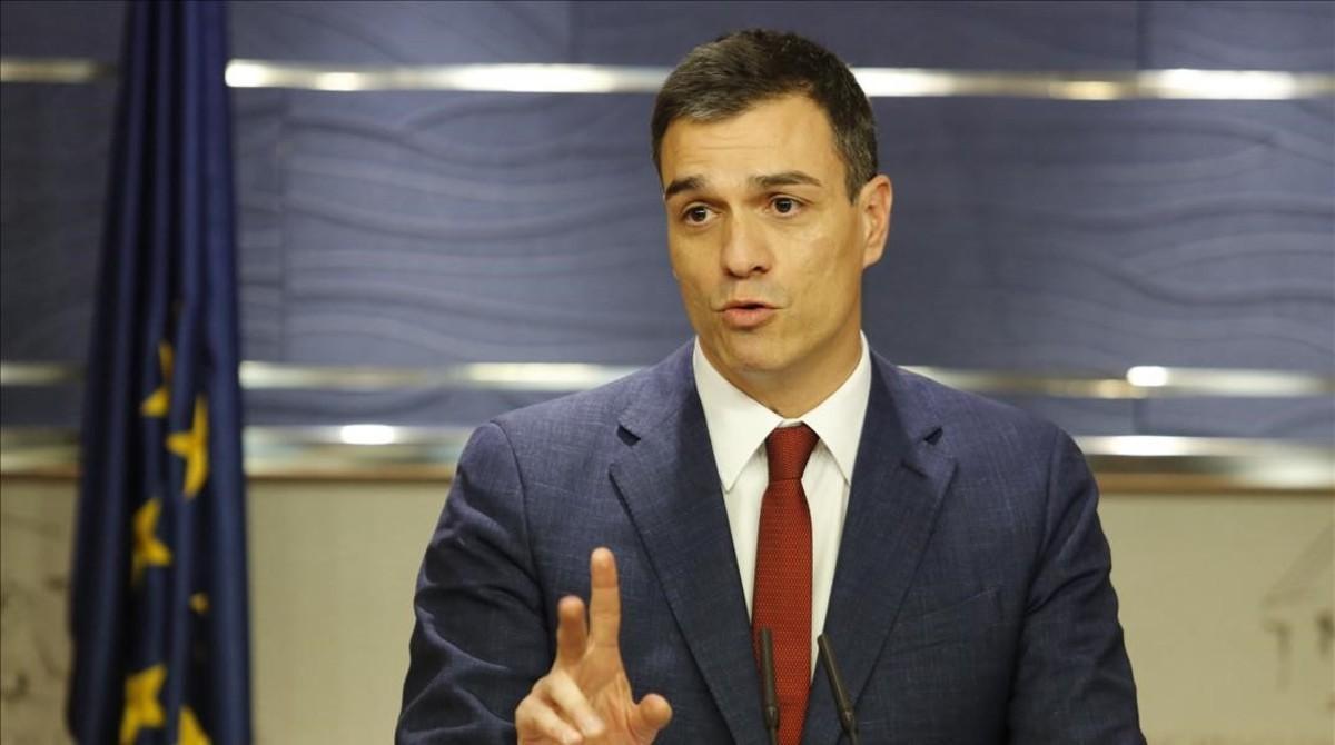 Pedro Sánchez, este martes en el Congreso, tras su entrevista con el Rey.