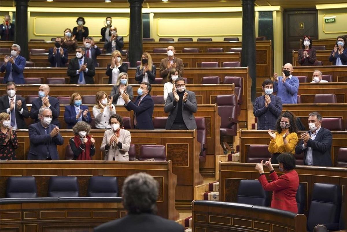 Pleno del congreso de los Diputados ,en la imagen Isabel Celaádespués de la votación de la ley de Educación.
