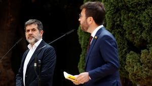 Pere Aragonès y Jordi Sànchez presentan el principio de acuerdo.