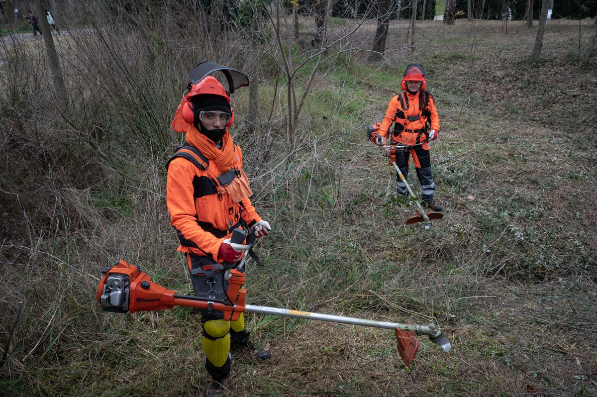 Inmigrantes en situación irregular trabajando como jardineros en Montjuic, Barcelona.