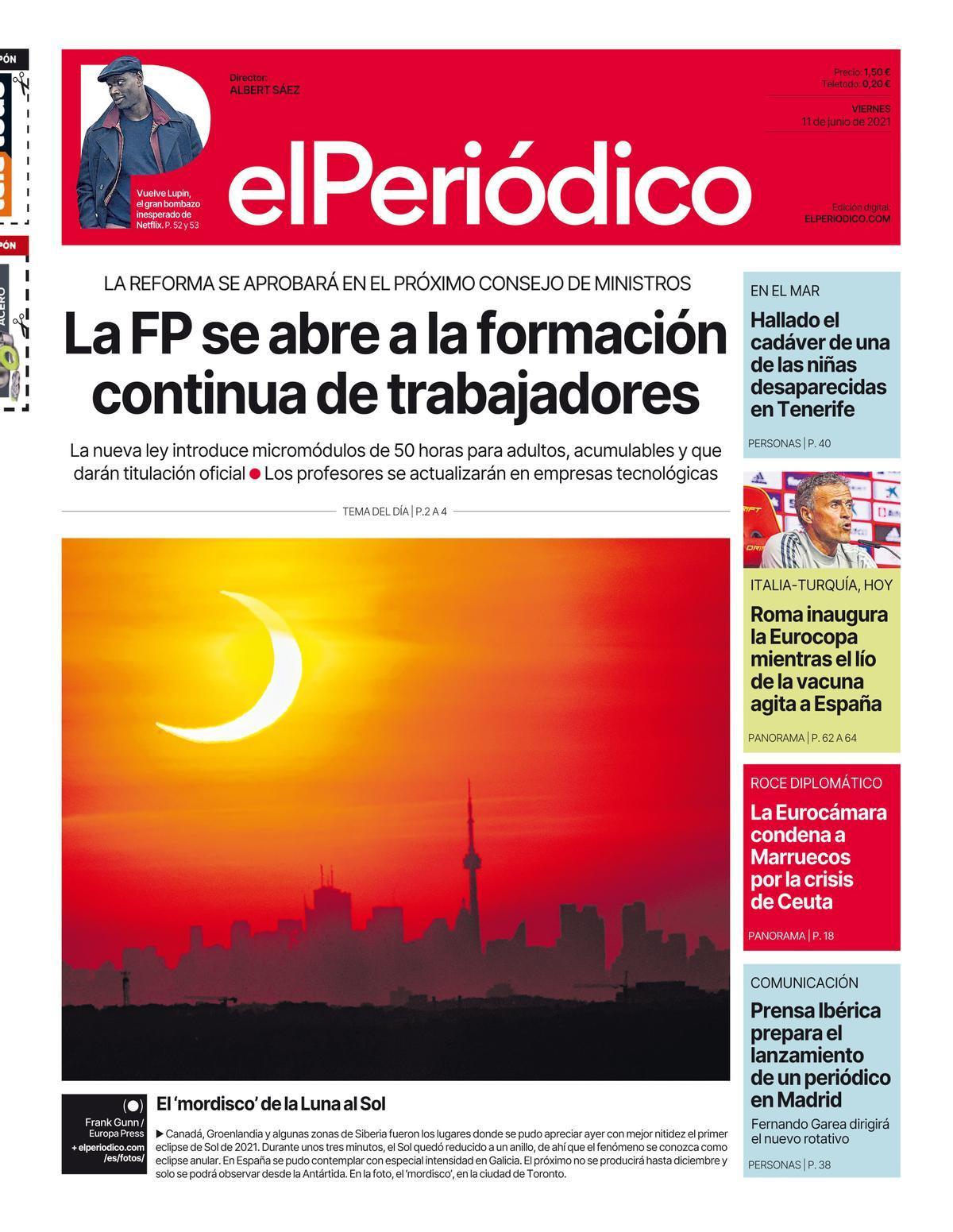 La portada de EL PERIÓDICO del 11 de junio de 2021