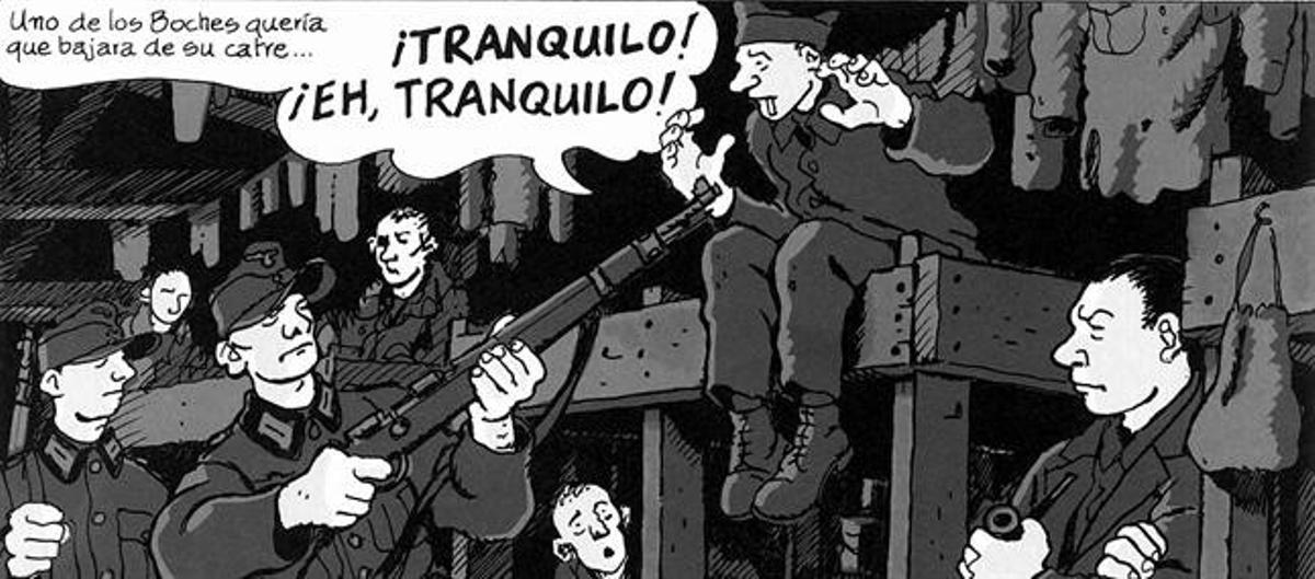 PADRE E HIJO 3René Tardi y su número de preso, en 1944; al lado, su hijo Jacques (en el 2010, en Barcelona), que se autorretrata de niño con él (arriba) en el cómic.