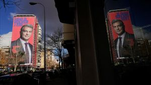 A giant electoral poster of FC Barcelona presidential hopeful Joan Laporta is seen on a building next to the Santiago Bernabeu Stadium in Madrid  Spain - December 15  2020  REUTERS Juan Medina