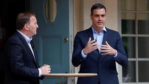 El presidente del GobiernoPedro Sanchezdurante su encuentro con el primer ministro sueco, Stefan Löfven.