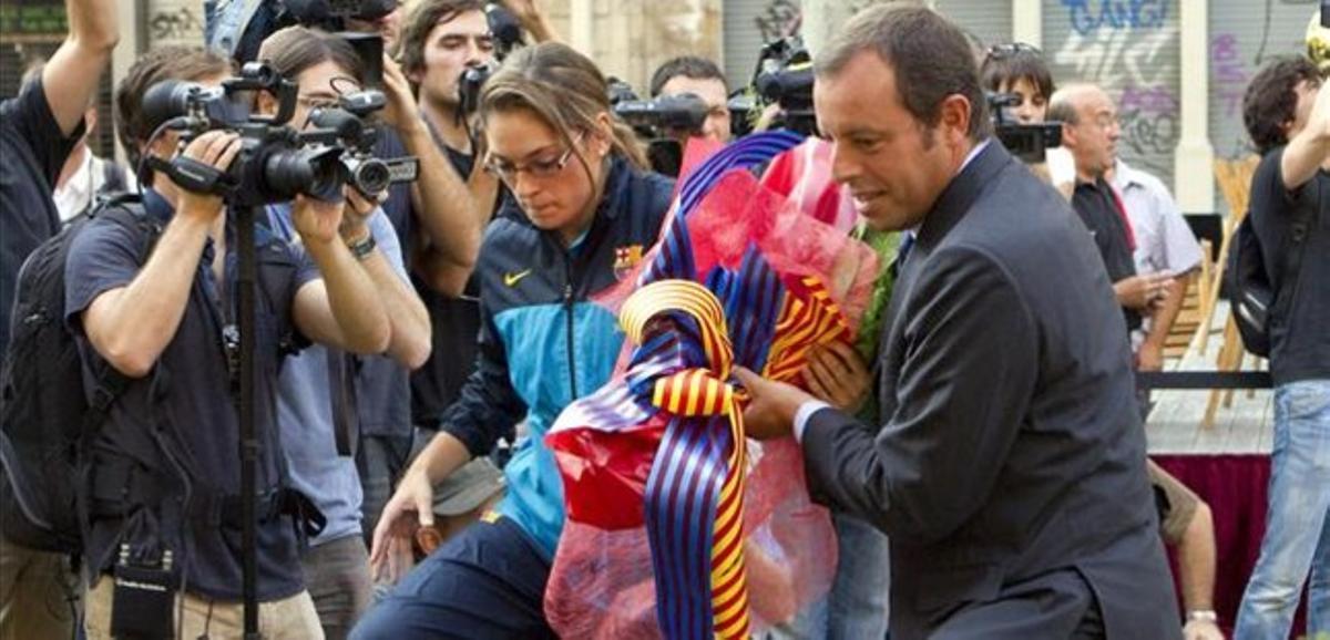 Sandro Rosell, en la ofrenda floral del pasado 11 de septiembre al monumento de Rafael Casanovas.