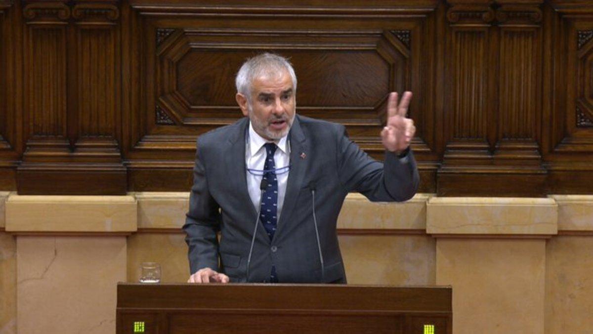 Carlos Carrizosa defiende la moción de censura contra Torra, en el Parlament.
