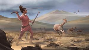 Recreación artística de la mujer cazadora que vivió en los Andes hace unos 9.000 años.