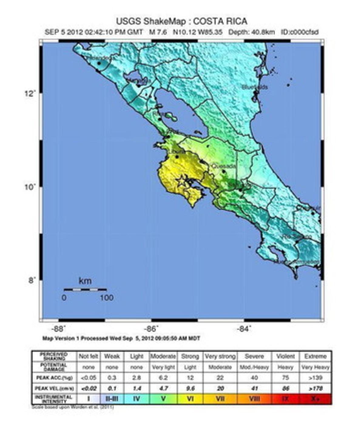 Localización del terremoto de Costa Rica.