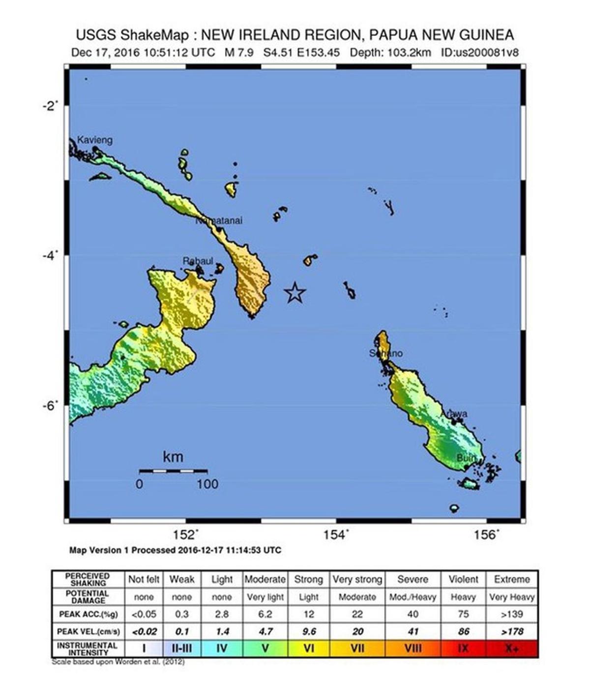 La estrella en el mar marca el lugar donde se ha registrado el hepicentro del terremoto.