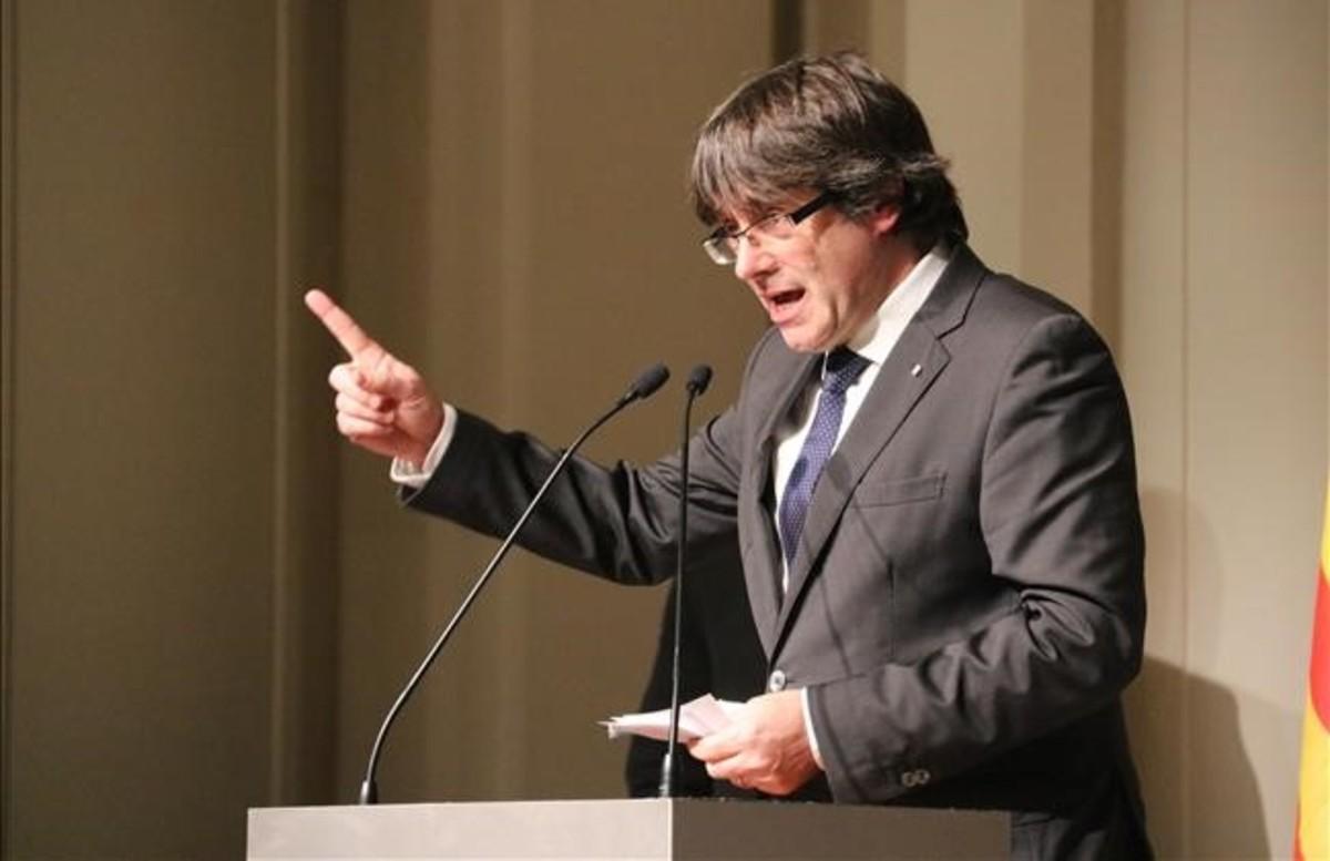 Carles Puigdemont, en un acto en Bruselas.