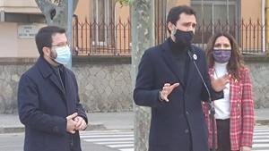 El presidente del Parlament,Roger Torrent, durante un acto con Pere Aragonès.