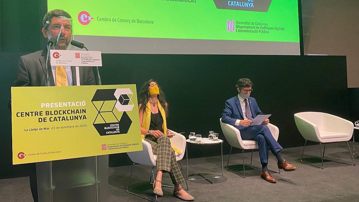 Canadell, Roca y Puigneró, durante la presentación del Centre Blockchain de Catalunya.