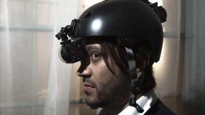 Daniel González, con un casco de vídeo en 360 grados.