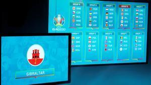 Panel con los grupos de la fase de clasificación de la Eurocopa 2020.