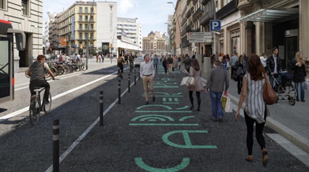Imagen recreada por ordenador con el futuro aspecto de la calle de Pelai.