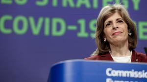 La comisaria Stella Kyriakides, durante la rueda de prensa en Bruselas para urgir a la aprobación de fármacos anticovid