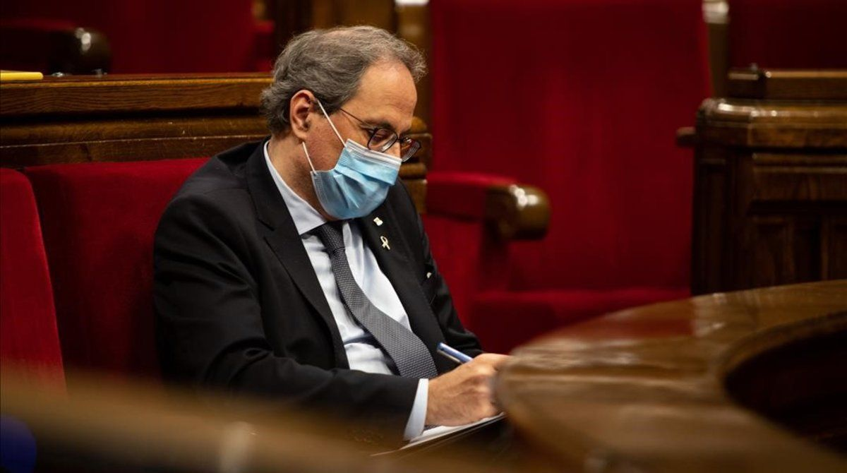 El 'president' de la Generalitat, Quim Torra, durante el pleno extraordinario sobre la situación de la monarquía, el pasado viernes.
