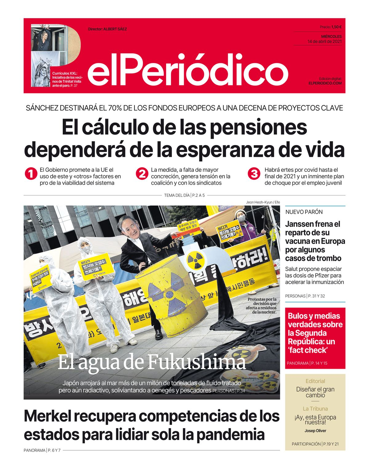 La portada de EL PERIÓDICO del 14 de abril de 2021