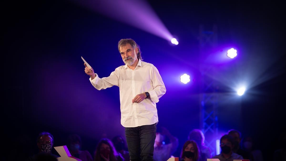 El presidente de Omnium Cultural,  Jordi Cuixart,  interviene en el acto  Fem-nos lliures.