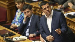El primer ministro griego, Alexis Tsipras, en el Parlamento de Atenas.