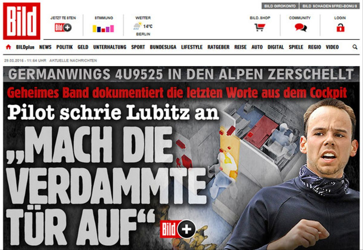 Portada de la web del diario 'Bild' con nueva información de las cajas negras.