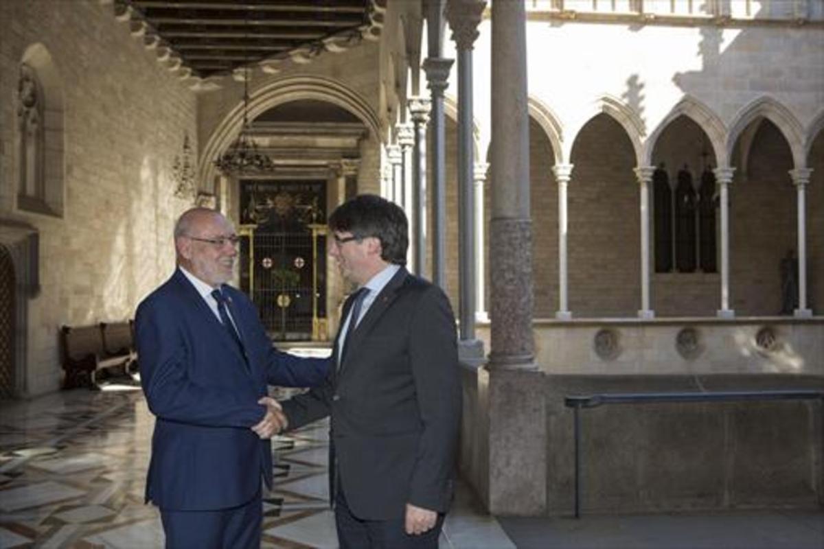 Carles Puigdemont recibió a José Manuel Maza en el Palau el pasado 24 de mayo.